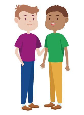 Adolescents mâles deux amis saluant et souriant avec des dessins animés de vêtements décontractés, conception graphique d'illustration vectorielle. Vecteurs
