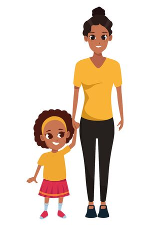 Family single mother with daughter cartoon vector illustration graphic design