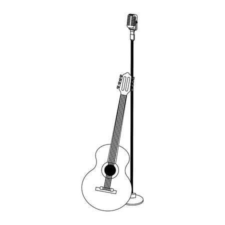 guitar instrument and microphone over white background, vector illustration