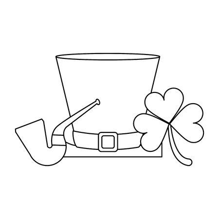 saint patricks day irish tradition leprechaun hat with tobacco pipe and clover cartoon vector illustration graphic design Illusztráció