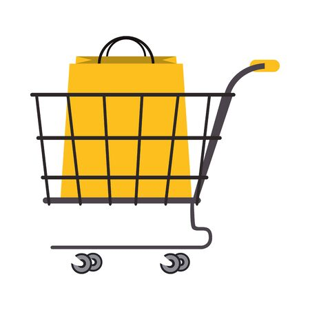 shopping retail sale store, shopping cart with shopping bag cartoon vector illustration graphic design