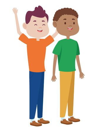Teenagers male two friends greeting and smiling with casual clothes cartoons ,vector illustration graphic design. Banque d'images - 133855795