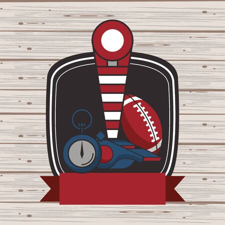 american football sport balloon and chronometer vector illustration design