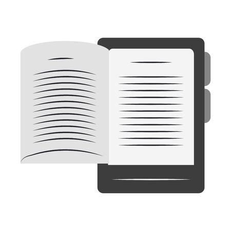 ebook of tablet and book over white background, vector illustration