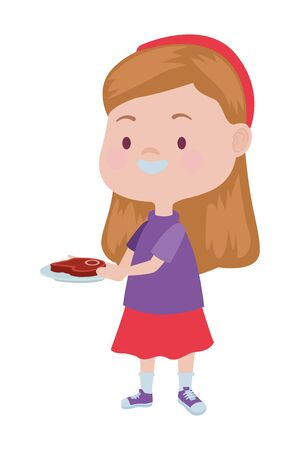 cute little girl with meat steak character vector illustration design Illustration