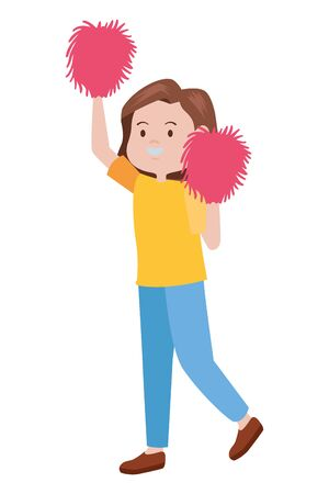 young woman cheerleader avatar character vector illustration design Vettoriali