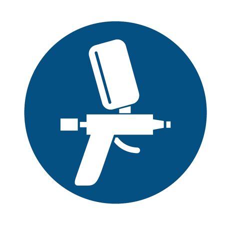 compressor gun mechanic tool flat icon vector illustration design
