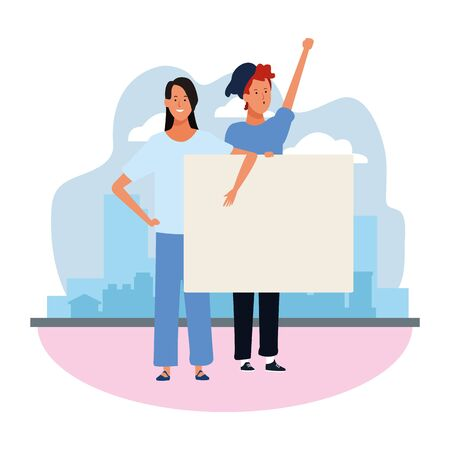 cartoon woman and man protesting with blank placard over urban city scenery and white background, vector illustration