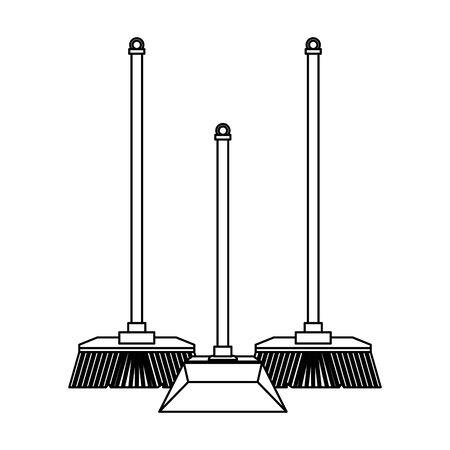 Matériel de nettoyage et produits balais et conception graphique d'illustration vectorielle de pelle à poussière. Vecteurs