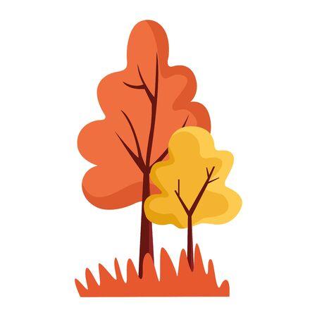 colorful Autumn trees icon , over white background, vector illustration Stock Illustratie