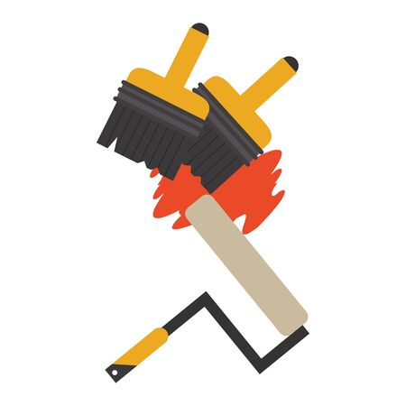 Construction tools paint brushes and rolling pin vector illustration graphic design Standard-Bild - 133856281