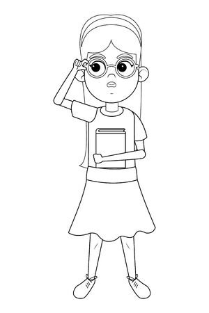 young little girl standing holding a book wearing glasses and bandana in black and white vector illustration graphic design