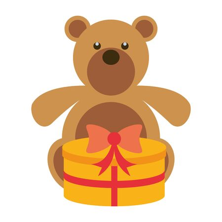 merry christmas gift with bear teddy vector illustration design Illusztráció