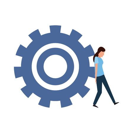 avatar woman pushing a big gear wheel over white background, vector illustration Illustration