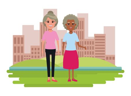 elderly people avatar afroamerican old woman and old woman with bun profile picture cartoon character portrait over the grass Archivio Fotografico - 133856306