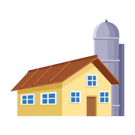 farm house and granary icon over white background, colorful design. vector illustration
