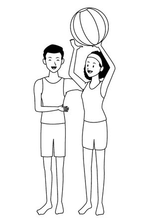 Young couple in summer with beach ball cartoons isolated vector illustration graphic design