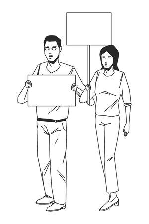 social activity and public protest young man raising a blank sing woman raising a blank sign in black and white avatar cartoon