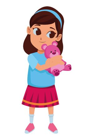 girl having fun and playing with purple teddy bear vector illustration graphic design Illustration