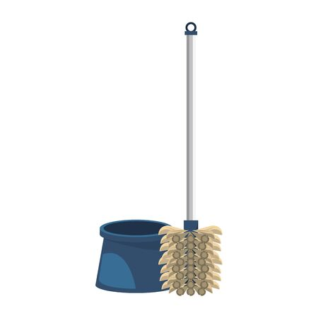 Cleaning toilet brush with pad isolated symbol vector illustration graphic design. 일러스트