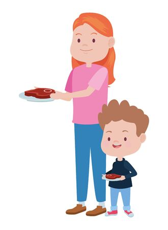 cute mother and son with meat steak vector illustration design Stock Illustratie