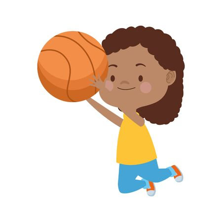 afro cute little girl with basketball balloon character vector illustration design