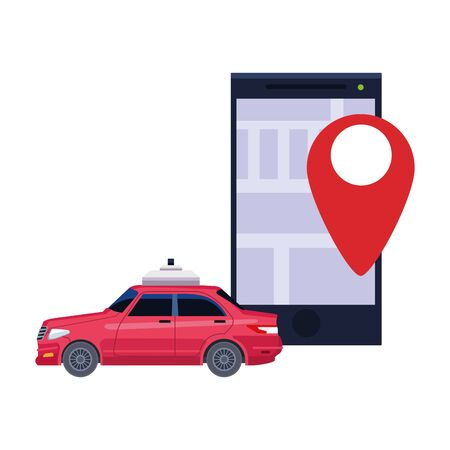 taxi car public transport service mobile smartphone application with gps technology location cartoon vector illustration graphic design