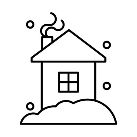 happy merry christmas house with winter storm vector illustration design