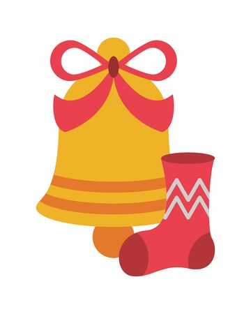 merry christmas bell decoration icon vector illustration design