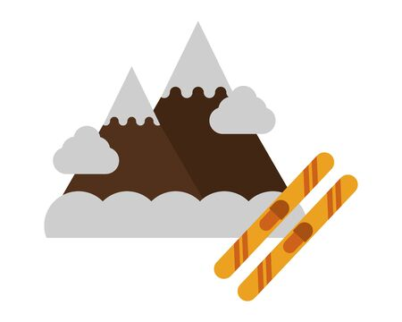 snow mountains with skies icons vector illustration design