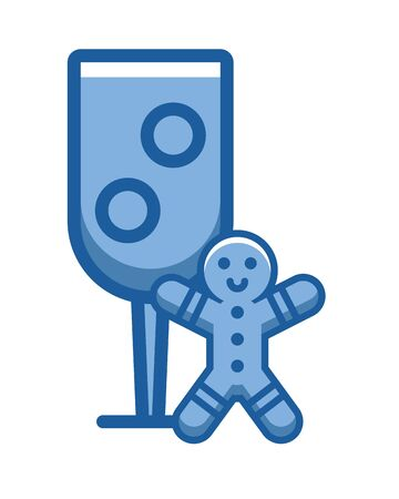 ginger cookie doll with cup vector illustration design Illusztráció