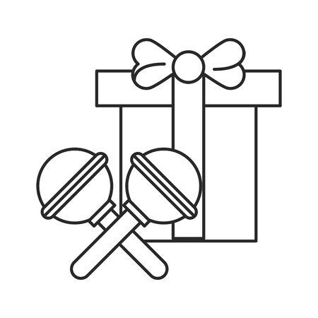 merry christmas gift present icon vector illustration design Illusztráció