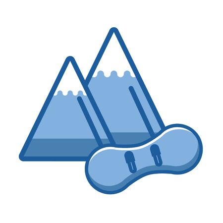 snow mountains with snowboard icon vector illustration design