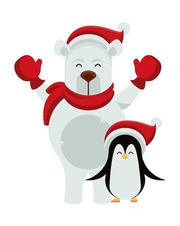 simpatico orso polare con caratteri di pinguino illustrazione vettoriale design Vettoriali
