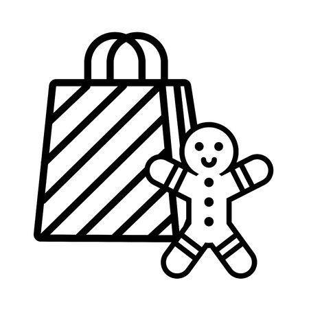 merry christmas gift bag icon vector illustration design