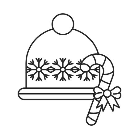 happy merry christmas hat with snowflakes vector illustration design