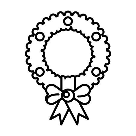 merry christmas wreath crown icon vector illustration design