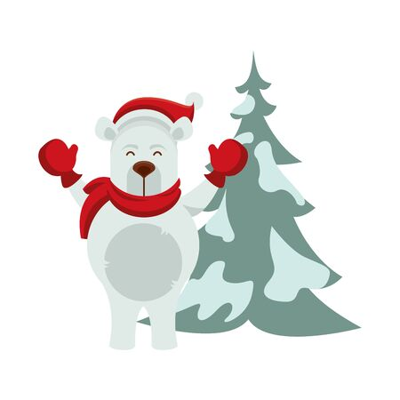 cute polar bear with pine tree character vector illustration design