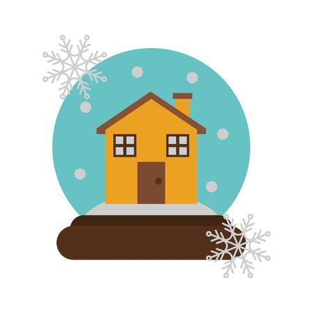 merry christmas crystal ball with house vector illustration design