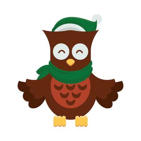 cute little owl with christmas clothes vector illustration design
