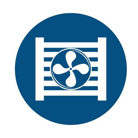 Autokühler und Lüftermontagestück flaches Vektor-Illustrationsdesign