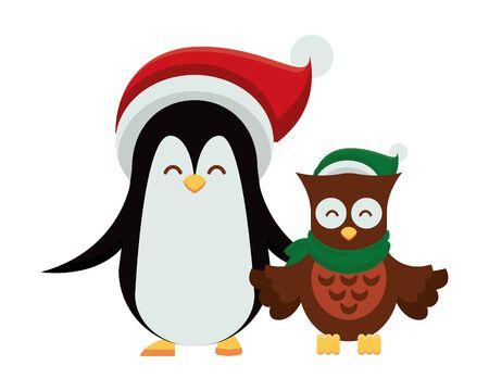 cute penguin with christmas hat character vector illustration design Illusztráció
