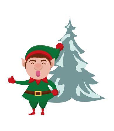 cute santa helper christmas character vector illustration design Illusztráció