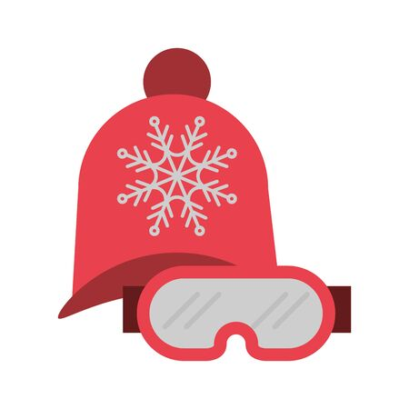 winter hat and goggles seasonal clothes icon vector illustration design
