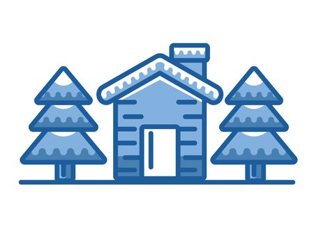 happy merry christmas house with pines trees vector illustration design 스톡 콘텐츠 - 133855897