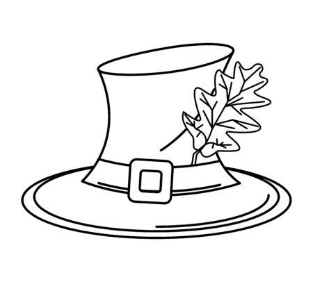 pilgrim hat with autumn leaf vector illustration design