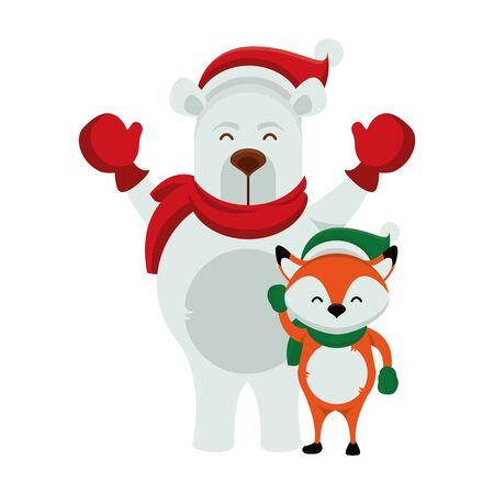 cute polar bear with fox characters vector illustration design