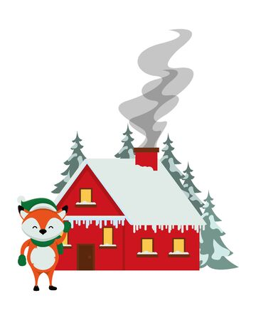 happy merry christmas house with fox vector illustration design 스톡 콘텐츠 - 133856192