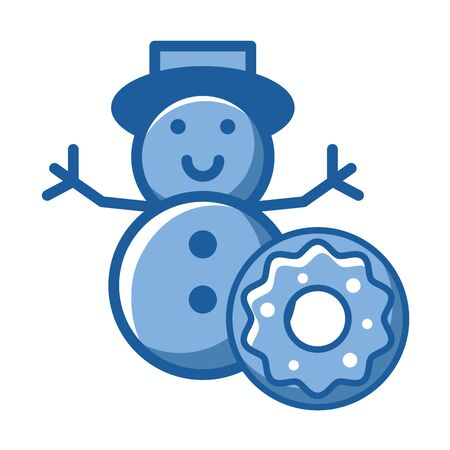 merry christmas snowman cute character vector illustration design