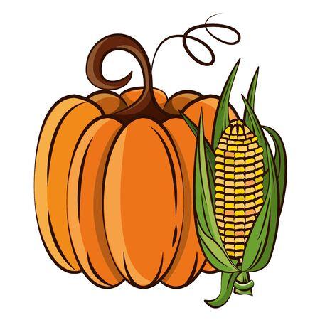 thanksgiving pumpkin with corn icon vector illustration design